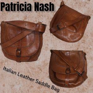 Patricia Nash Italian Leather rugged saddle bag